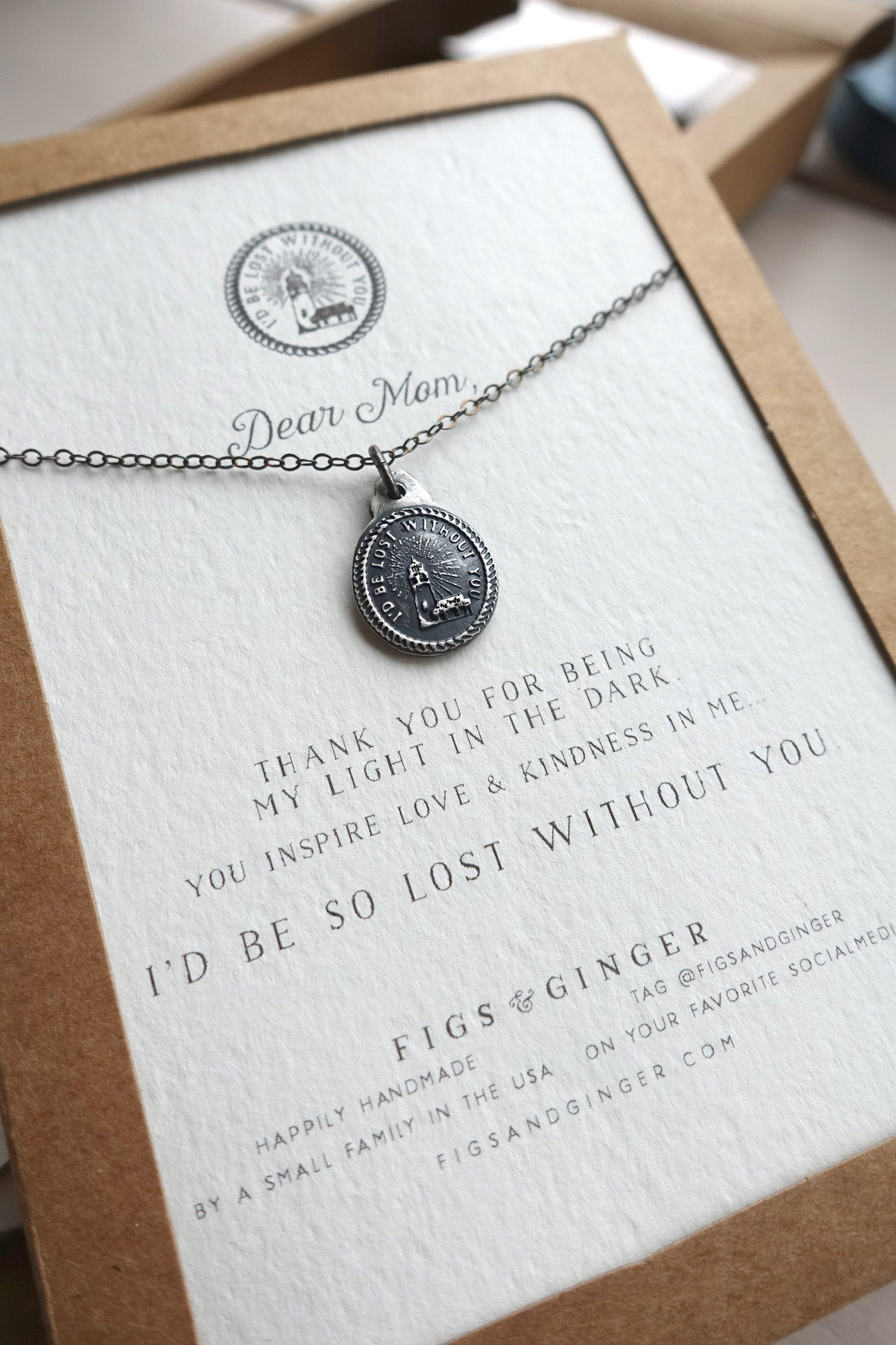 Mothers Necklace I D Be Lost Without You Perfect Gift For Mom Figs Ginger