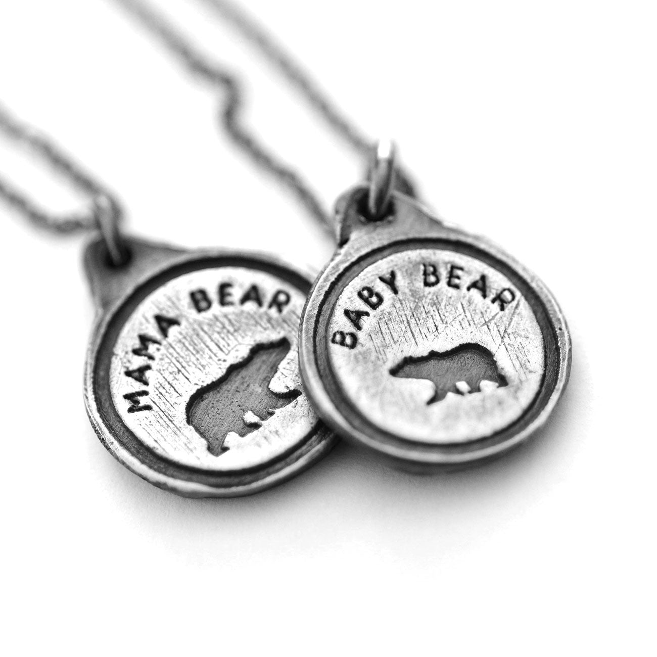Mama Bear & her Baby Bear Cub Necklace Set