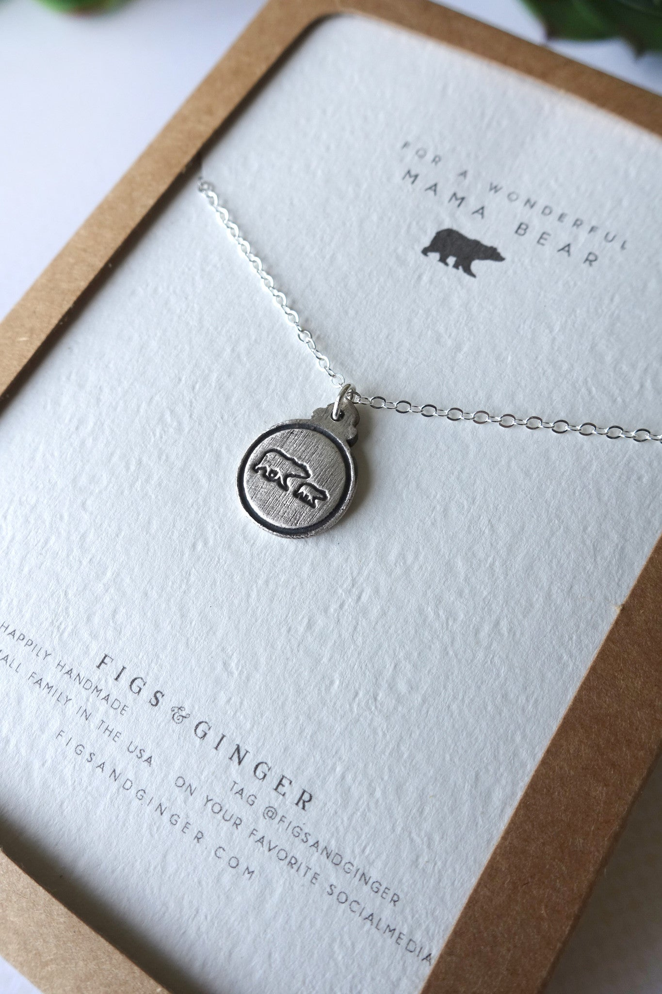 Mama Bear & 1 Bear Cub Charm Necklace