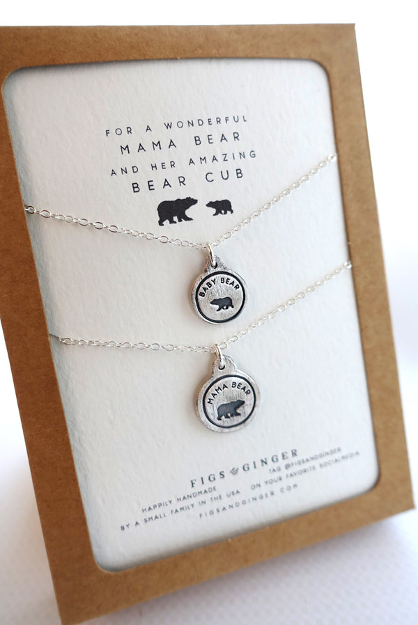 mother necklace mama bear baby bear 3 cubs plain mother bear and three cubs initial necklace Ready to ship