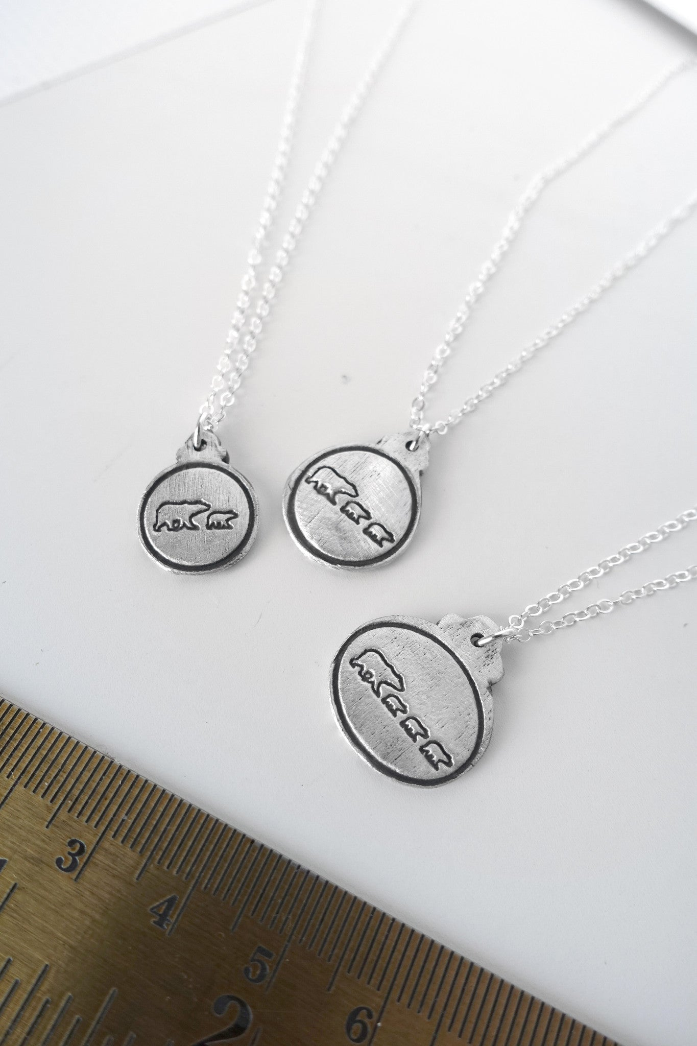 Mama Bear & 3 Bear Cubs Charm Necklace