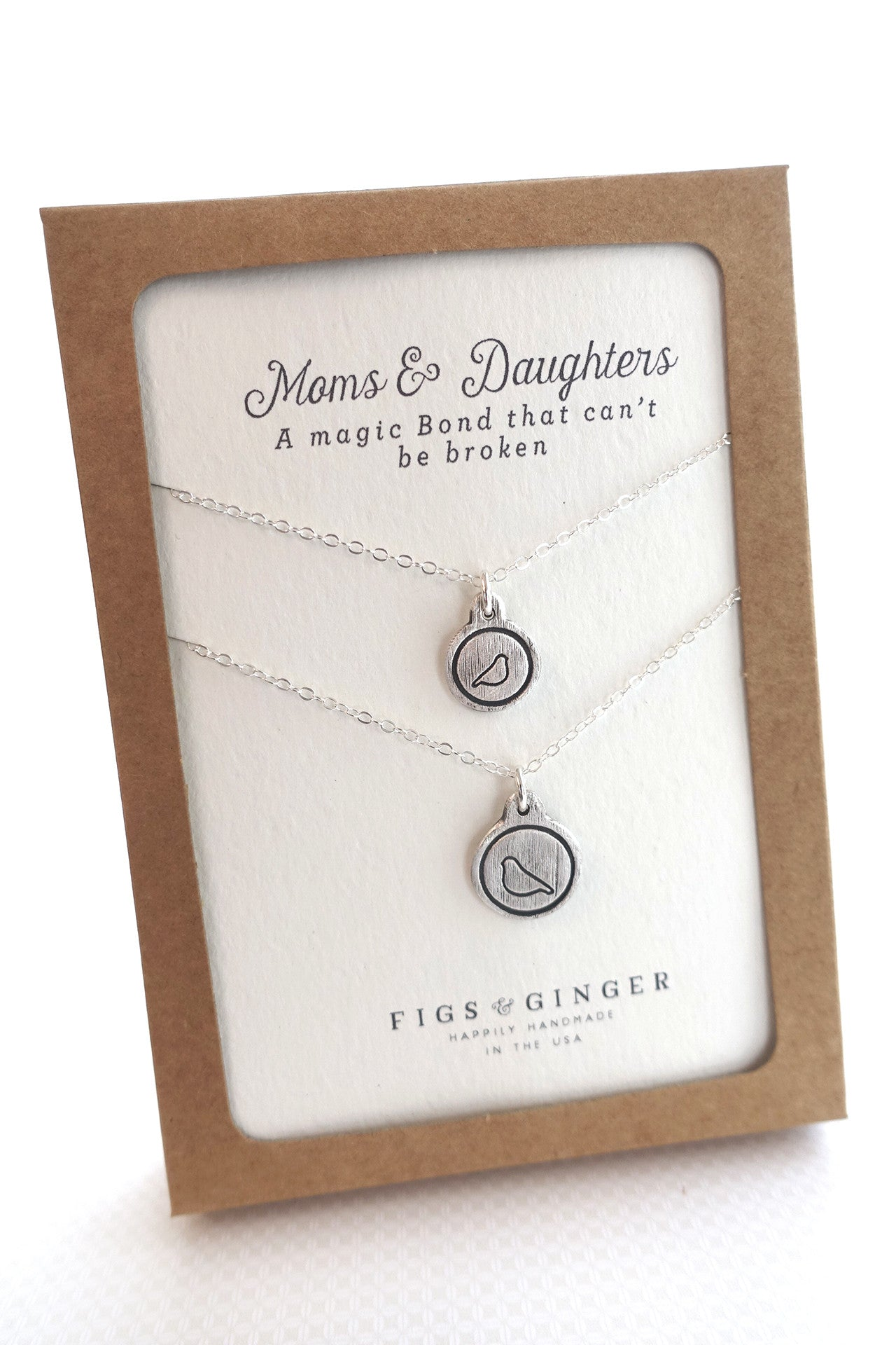 Mother Bird & Baby Bird Charm Necklace Set