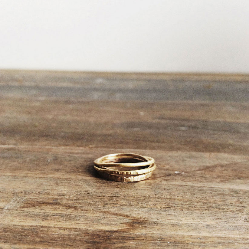 Set of 3 18K Yellow Stacking Rings