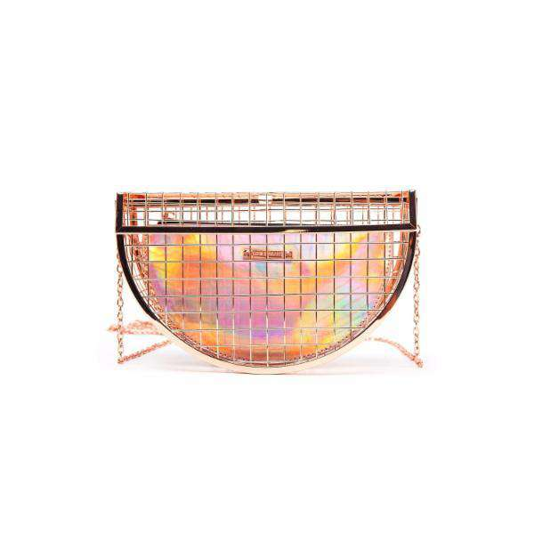 LIKE DREAMS Jupiter Caged Crescent Hologram Evening Clutch