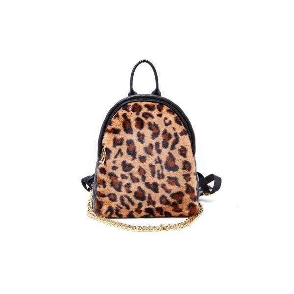 LIKE DREAMS Red Light Furry Leopard Print Capsule Backpack - shoplikedreams
