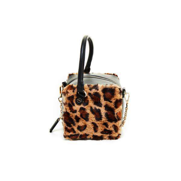 LIKE DREAMS Leopard Fur Cube Satchel - shoplikedreams
