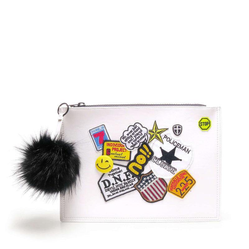 LIKE DREAMS Patchwork Pom Vegan Leather Clutch