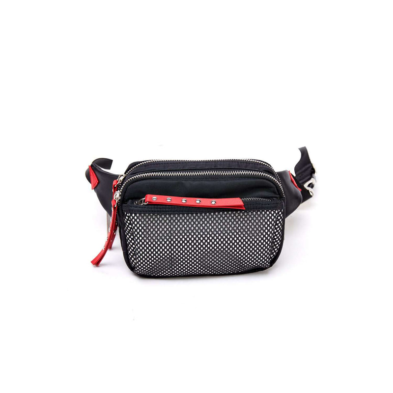 LIKE DREAMS Studded Mesh Nylon Fanny Pack