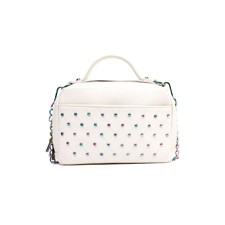 LIKE DREAMS Quilted Studs Top Handle Shoulder Bag