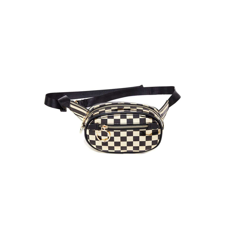 LIKE DREAMS Checkered Metallic Capsule Belt Bag