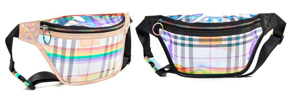 LIKE DREAMS Solaire Hologram Plaid Fanny Pack - shoplikedreams