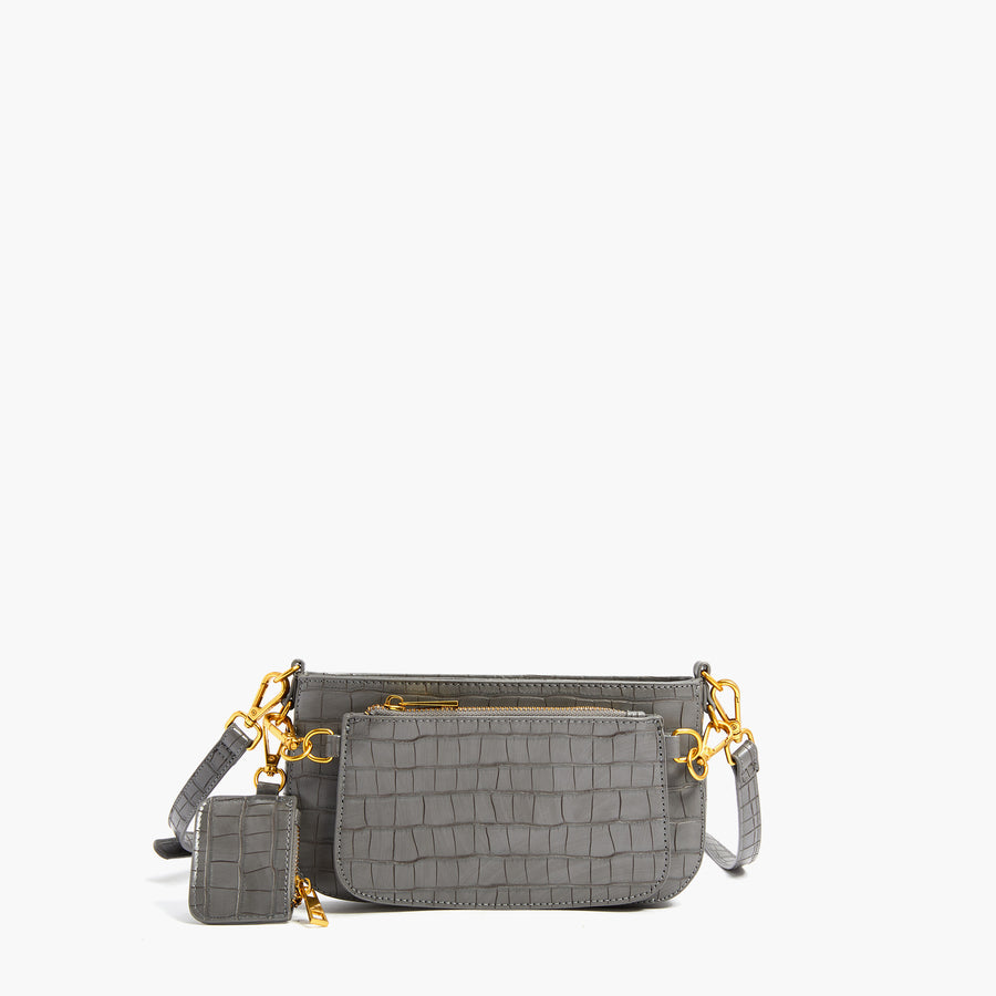 LIKE DREAMS Faux Crocodile Embossed Crossbody
