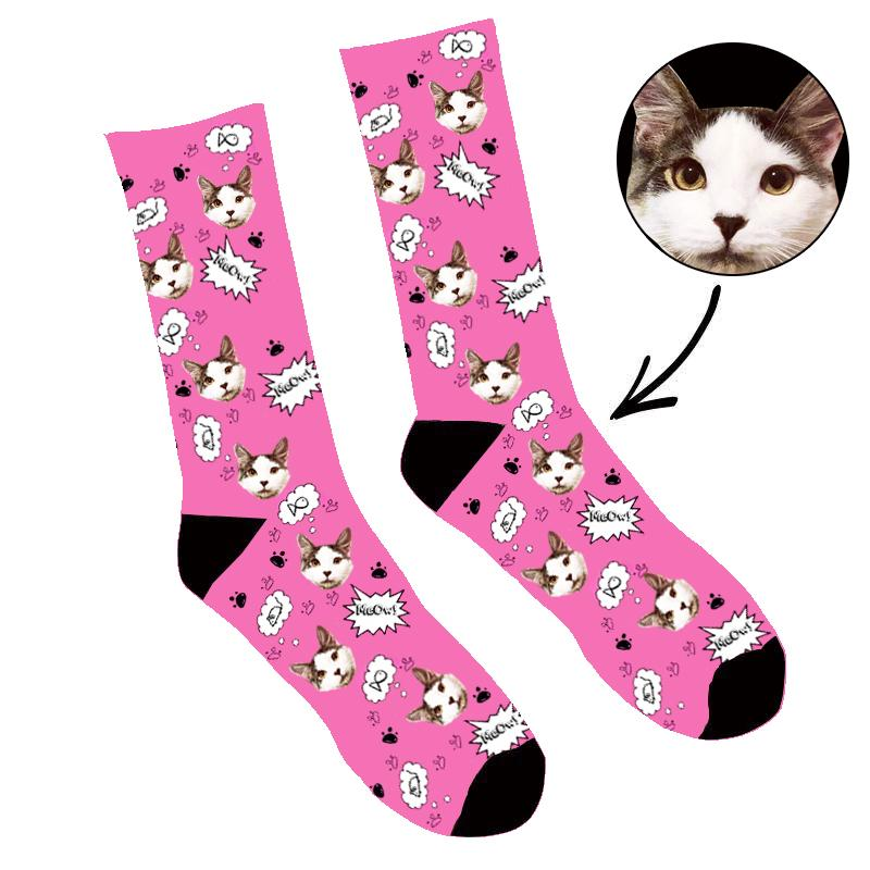 Custom Face Socks Your Cat Meow Socks - Make Custom Gifts