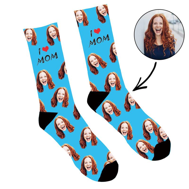 Custom Face Socks I Love Mom - Make Custom Gifts