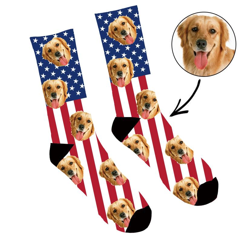 Custom Face Socks American Flag - Make Custom Gifts
