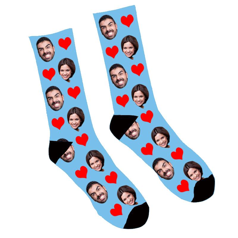 Custom Face Socks Heart - Make Custom Gifts