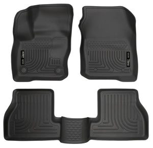 Husky Liners WeatherBeater Black Front & Back Seat Floor Mats - 2017-2018 Ford Focus S/SE/SEL/ST/Titanium
