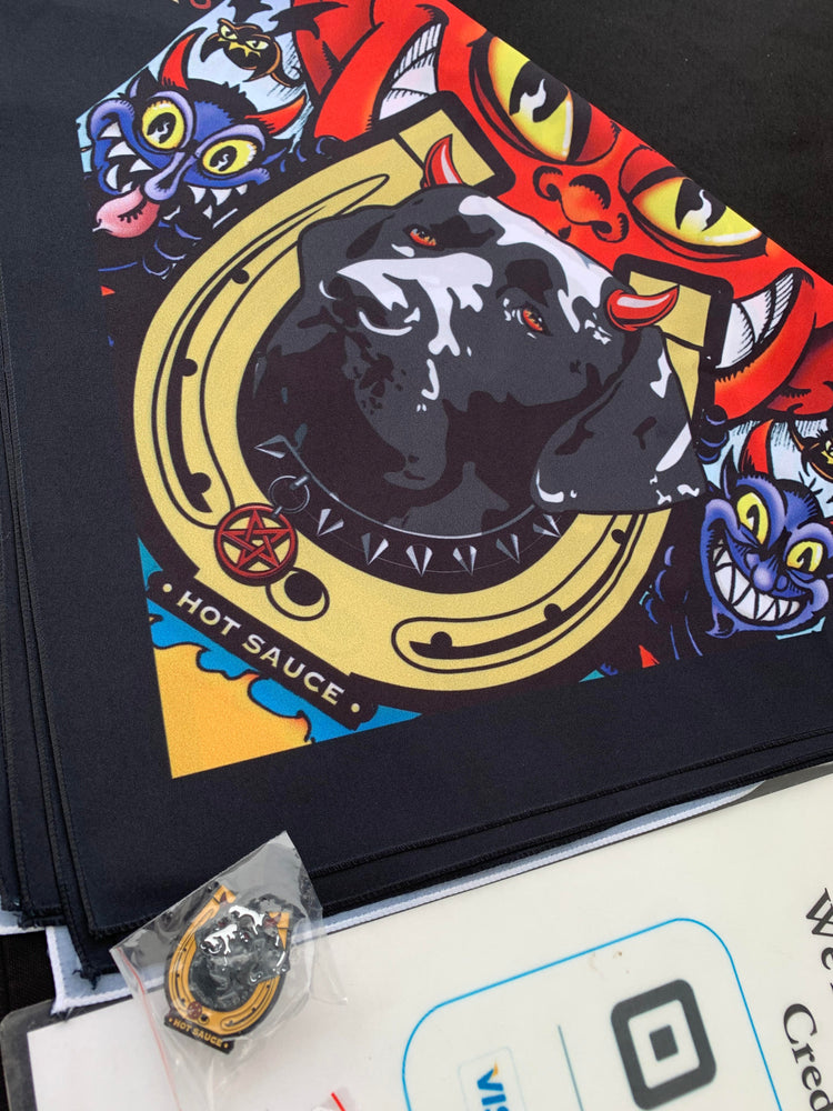 Hell  Hound Pins & Bandannas Are Here!