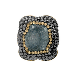 Anillo 925 Drusy & Gold Plated