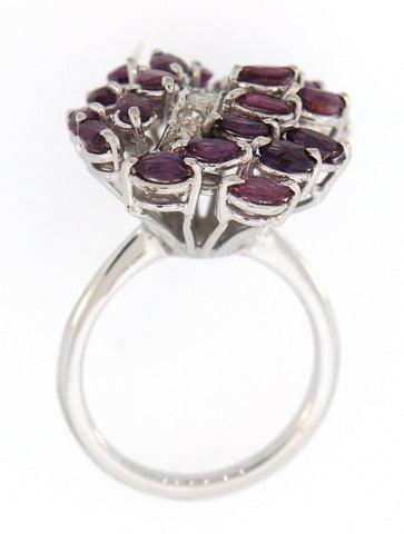 ANILLO DE PALADIO CON RUBELITA Y DIAMANTES 0.24CT