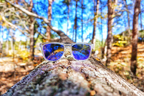 Clear wayfarer mirrored sunglasses