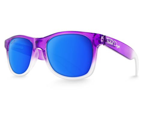 women's Purple sunglasses with blue lenses