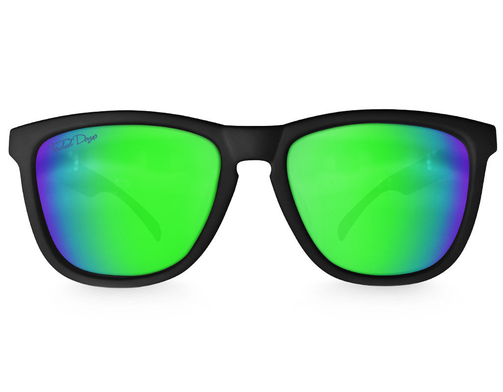 Black Green Chameleon Mirrored Sunglasses