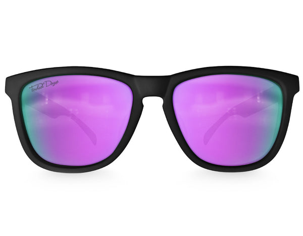 Black Purple Chameleon Mirrored Sunglasses