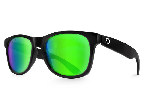 Black Green Chameleon Large Frame Sunglasses