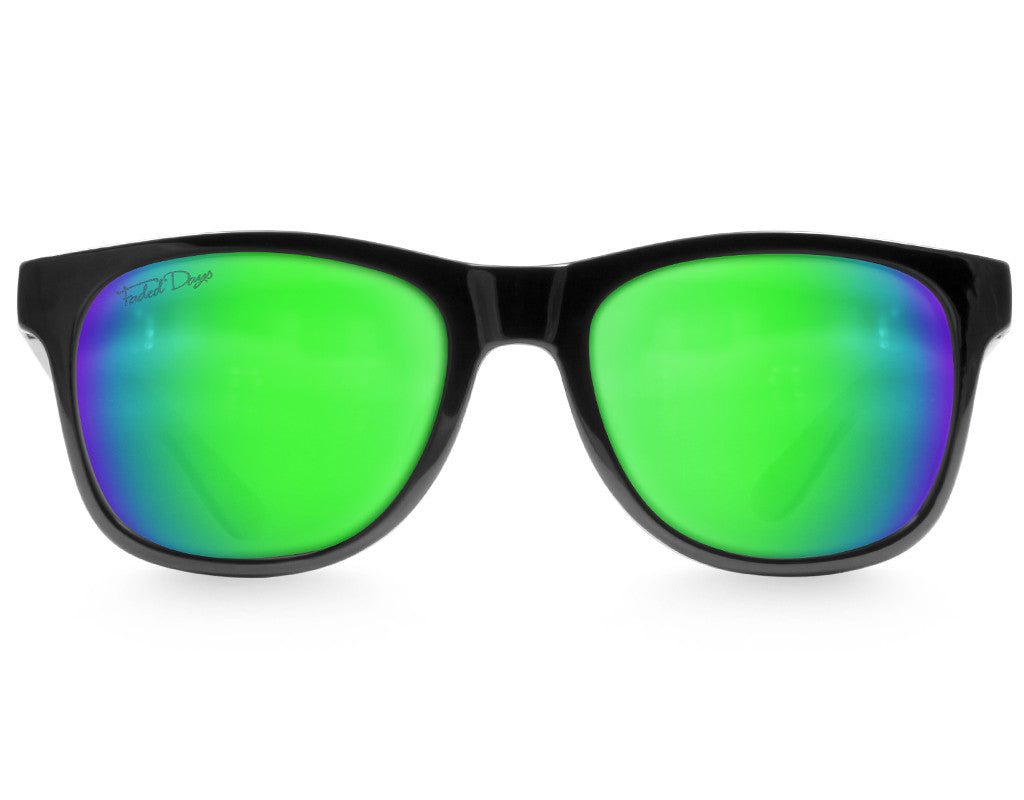 Black Green Chameleon Large Frame Sunglasses - Faded Days