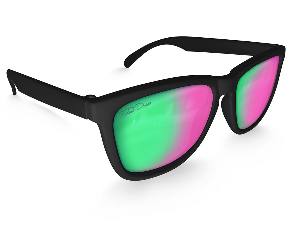 Black Green Rose Mirrored Sunglasses