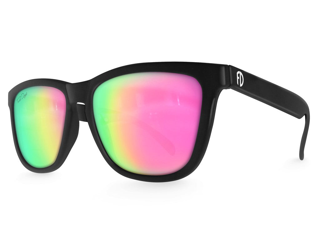 Black Pink Chameleon Mirrored Sunglasses - Faded Days