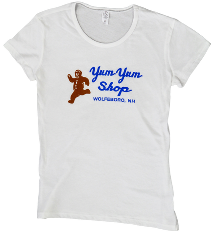 A white women's short sleeve tee with the Yum Yum Shop logo printed on it.