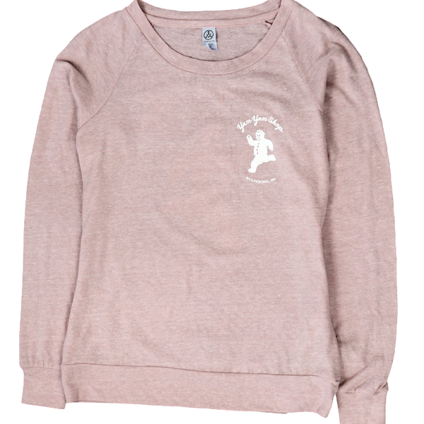 A rose colored long sleeve pullover with the Yum Yum Shop running gingerbread logo in the upper corner.