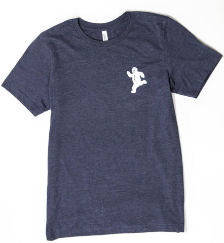 A grey unisex tee with the running gingerbread man printed on the front in the upper corner.