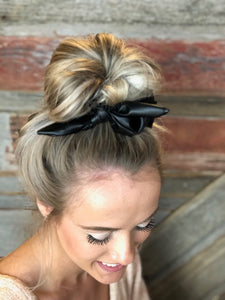 Pleather Bow Scrunchie