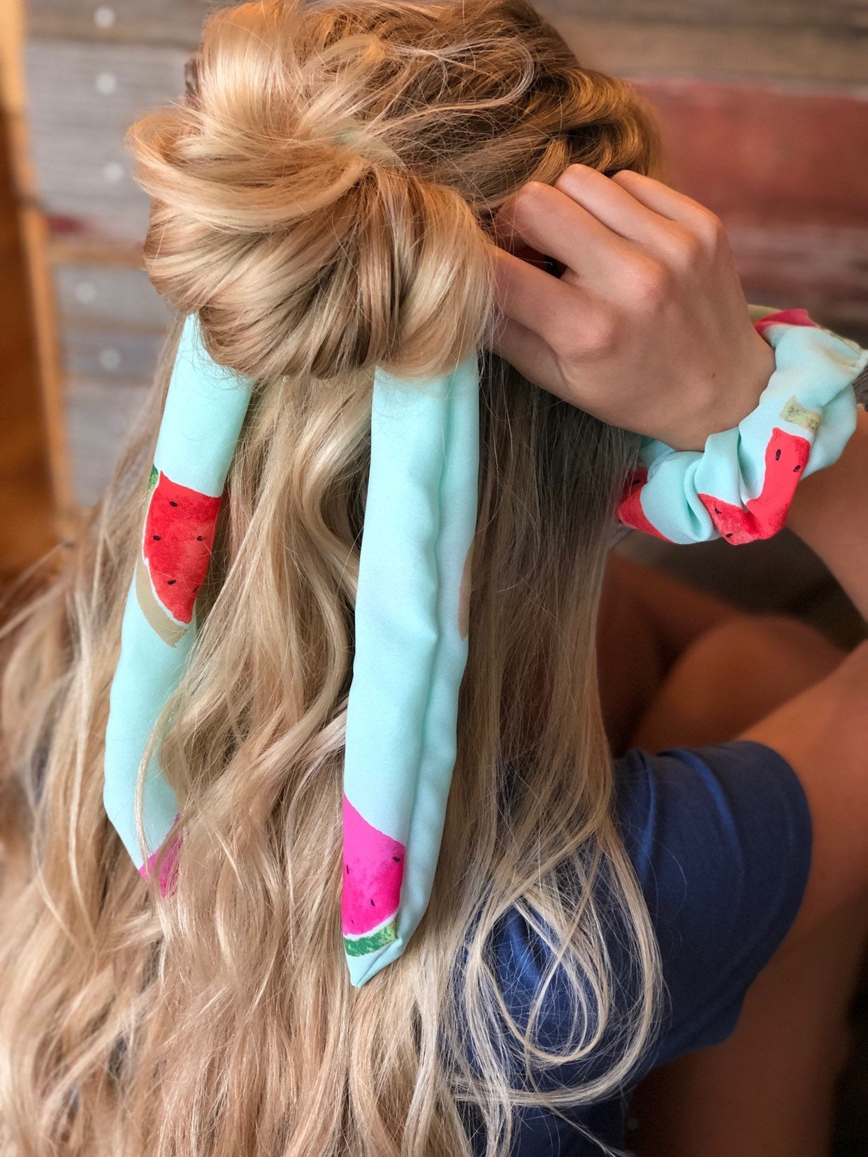 Don't Eat Watermelon Seeds Scrunchie Scarf