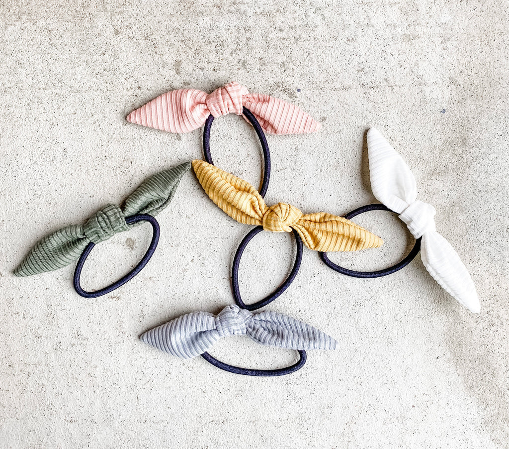 Ribbed Knit Pony Bows • Multiple Colors