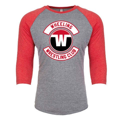 Wheeling Wrestling Club Wrestling Unisex Tri-Blend 3/4 Sleeve Raglan - Red_Gray