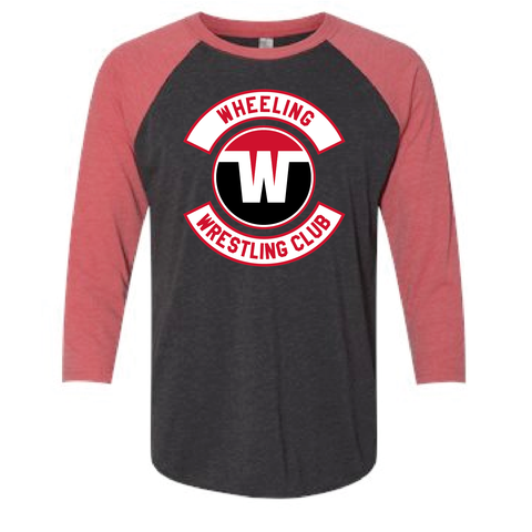 Copy of Wheeling Wrestling Club Wrestling Unisex Tri-Blend 3/4 Sleeve Raglan - Black-Red