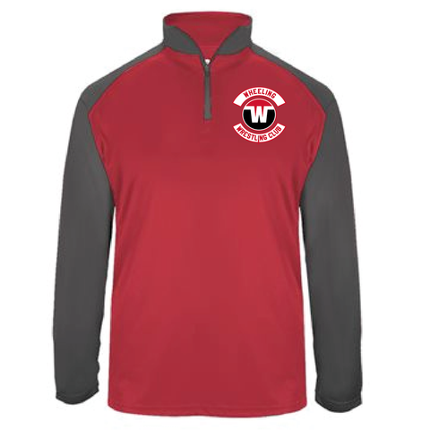 Wheeling Wrestling Club Wrestling Ultimate SoftLock™ Sport Quarter-Zip Pullover - Red_Gray