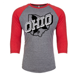 Retro Ohio White - UNISEX TRI-BLEND 3/4 SLEEVE RAGLAN