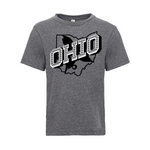 Retro Ohio White - YOUTH TRI-BLEND TEE - Premium Heather Gray