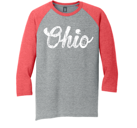 STB Scripted Ohio Football Raglan-Red and Gray
