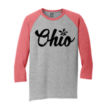 STB OHIO SCRIPTED UNISEX TRI-BLEND 3/4 SLEEVE RAGLAN