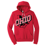 Retro Ohio White pullover YOUTH hoodie - Red