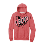 Retro Ohio White pullover hoodie - Red
