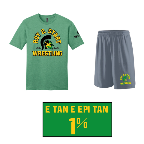 Spartan Wrestling Cotton Tee Practice Gear Set- adult