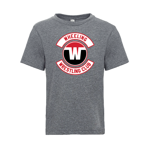 Wheeling Wrestling Club Wrestling Logo Youth Tri-Blend Tee-Gray