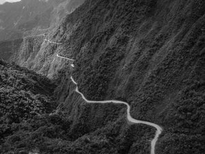Overhead view of the trail along Yungus Road in Bolivia